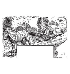 Fox and horse in this border vintage engraving vector