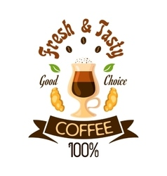 Fresh and tasty coffee fast food label vector