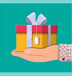 gift boxes in hand vector image