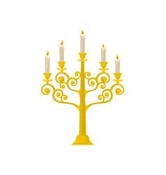 Golden candelabrum with burning candles vintage vector