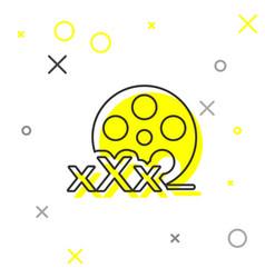 Grey line film reel with inscription xxx icon vector