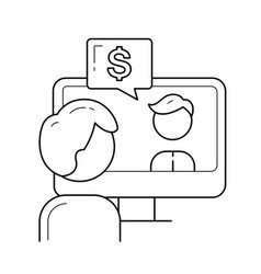 guy working on a computer line icon vector image