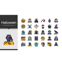 halloween icons filled outline design for vector image