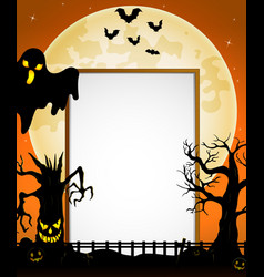 Halloween sign with black ghost and flying bats an vector