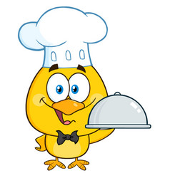 Happy chef yellow chick holding a cloche platter vector