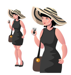 happy elegant lady with hat isolated vector image