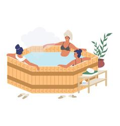 happy women enjoying barrel japanese hot tub bath vector image