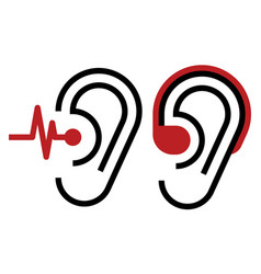 Hearing aid and ear icon vector