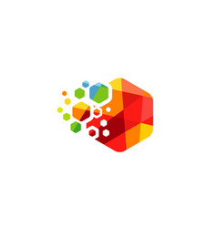 hexagon colors logo vector image