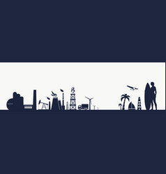 industry and nature concept vector image