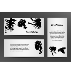 Invitation with inkblots on white background vector image