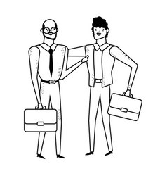 Isolated businessmen with suitcase design vector