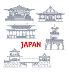 japan landmarks temples tower gates and shrines vector image