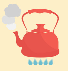 Kettle boils with water flat style vector