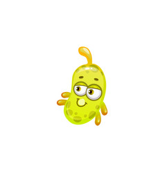 laughing cartoon oblong virus with spike on head vector image