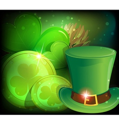 Leprechaun hat clover and gold coins vector