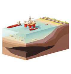 Low poly offshore oil rig drilling platform vector