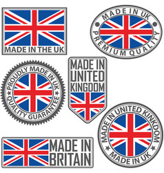 made in uk label set with flag in the uk vector image