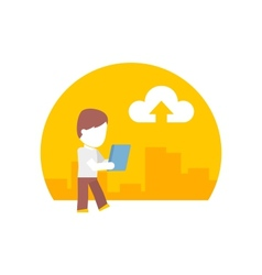 Man uses a tablet during the journey flat design vector