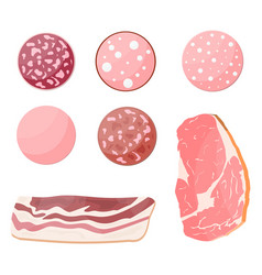 Meat sausage slice set vector