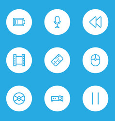 media icons line style set with pause remote vector image