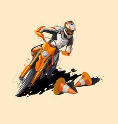 moto sport supermoto icon sticker design vector image