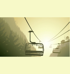 Mountain forest with ski lift vector