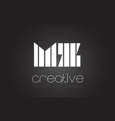 Mz m z letter logo design with white and black vector