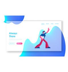 paper boy selling newspapers website landing page vector image