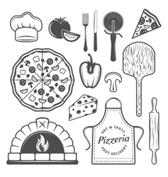 Pizzeria monochrome elements set vector