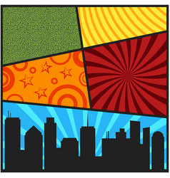 Pop art comic page cover templates with city vector