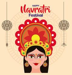 Poster goddess durga for happy navratri vector
