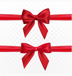 realistic red bow and ribbon element for vector image