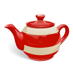Red and white teapot vector
