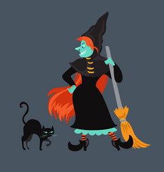 red-haired witch in black dress and cloak vector image