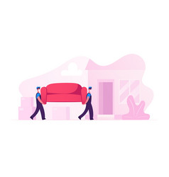 relocation and moving into new house workers vector image