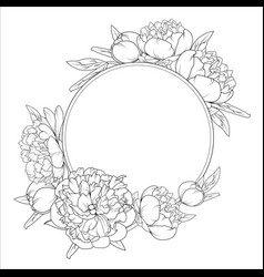 rose peony flowers roung wreath frame template vector image