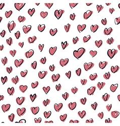 seamless hearts hand drawn pattern vector image