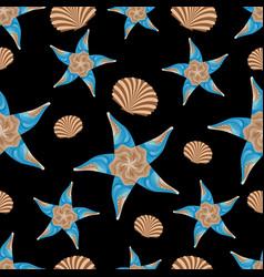 seamless pattern of abstract sea stars seashells vector image