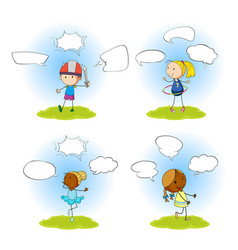 set children with speech balloon vector image