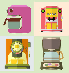 set of coffee machine vector image