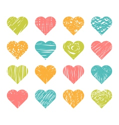 Set of hand drawn colored hearts on white vector image