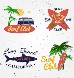 Set of Surf club concept Summer surfing retro vector image