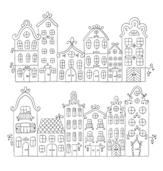 Set of town building City streets vector