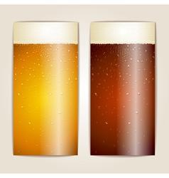 Set of Water drops on beer background vector