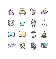 Sleeping and insomnia color thin line icon set vector