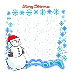 Snowman with Frame Composed of Snowflakes vector