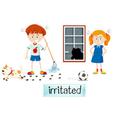 Two children irritated scene vector