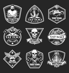 Vintage tatoo studio logos set vector