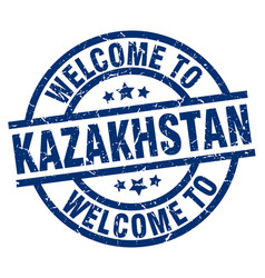 welcome to kazakhstan blue stamp vector image